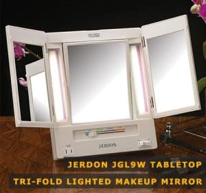 Featured Image of Jerdon Jgl9w Tabletop Tri-fold Lighted Makeup Mirror